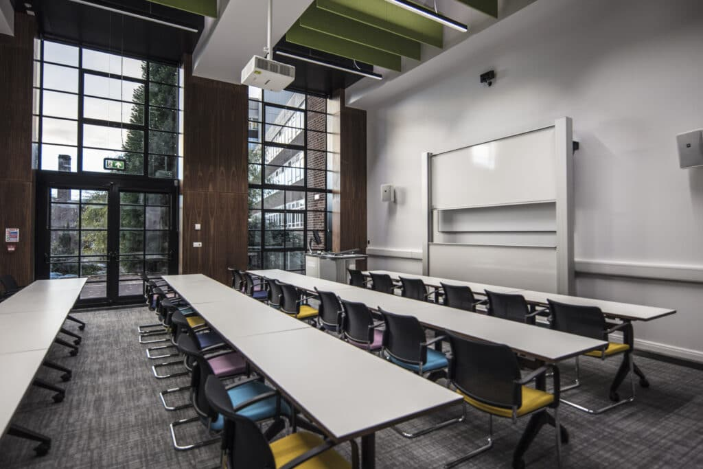 Lecture room with desks and chairs