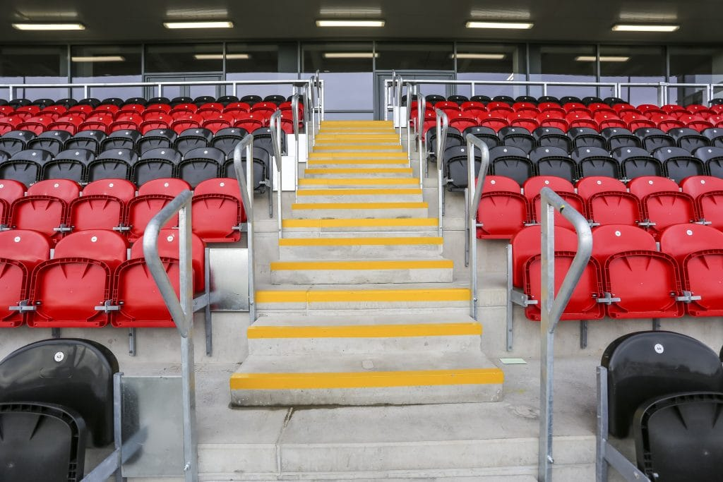 stadium seats in red and black